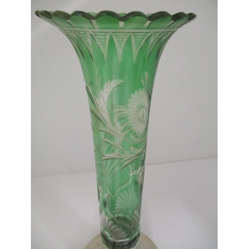 42 - A late Victorian green, overlaid clear glass and silver vase, London 1898 by Huckin & Heath, with a ...