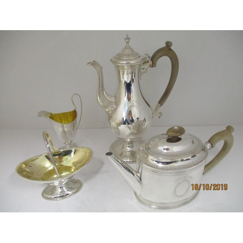 45 - A four piece silver tea/coffee service, London 1967 Garrard & Co Ltd, comprising a teapot, a coffee ...