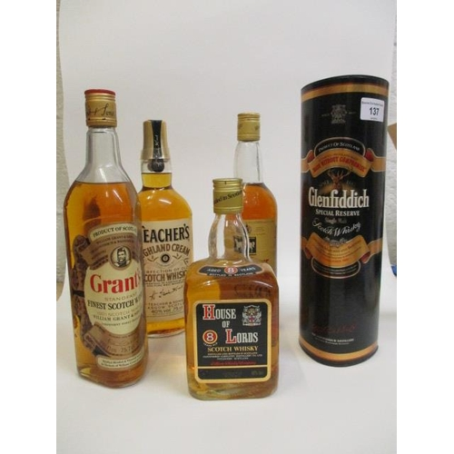 137 - Five bottles of Scotch Whisky to include Grants, Glenfiddich, House of Lords, Teachers, White Horse ...