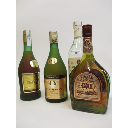 138 - Three bottles of Brandy to include D Campeny, Napoleon Brand and one bottle of Bacardi Location CR