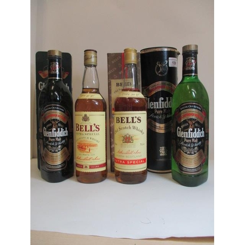 139 - Two bottles of Bells 70cl and two bottles of Glenfiddich Location LAM