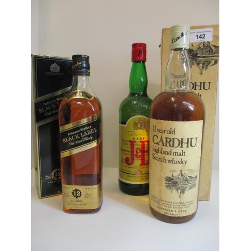 142 - Three bottles of Whisky to include J & B Cardhu and Johnnie Walker Black Label Location 8.4