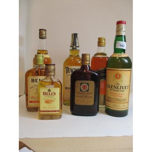 143 - Seven bottles of Scotch Whisky to include Bells, Teachers, Johnnie Walker and Glenlivet Location LWM