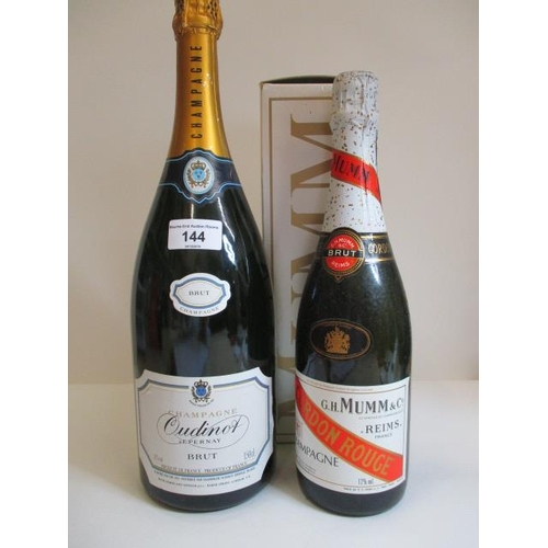 144 - One Magnum bottle of Oudinot Champagne and one bottle 750ml of Mumm Champagne Location LAM