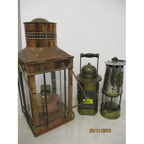 481 - The Protector Lamp and Lighting Co Ltd, miners lamp and one other together with a copper cased oil l...