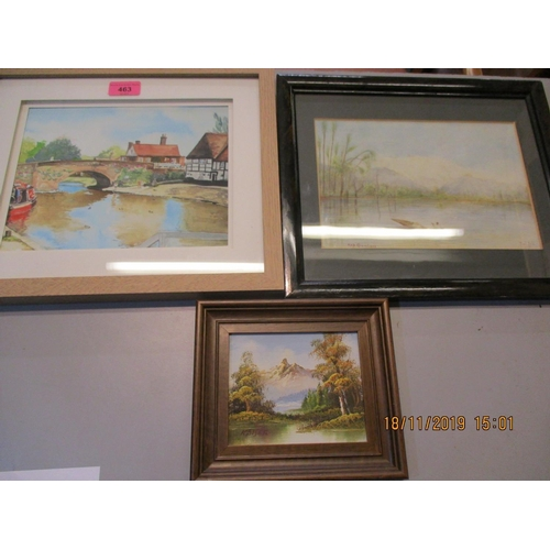 478 - Three pictures to include an oil on board of a European alpine river landscape and two watercolours ...
