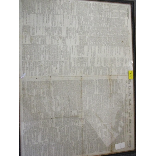 479 - An 1800 newspaper article from the Lincoln, Rutland and Stamford Mercury, a mounted plan of Carlton ...