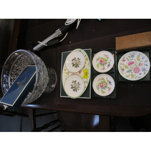 495 - A cut glass bowl on a pedestal foot, Minton Haddon Hall and other boxed ceramics, along with a picni...