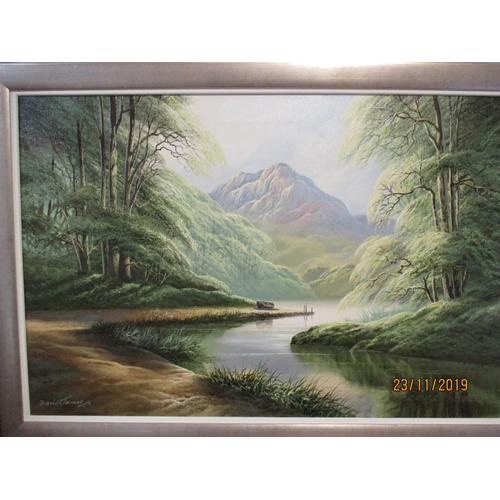 496 - David James - a river valley scene with mountains in the background, oil on canvas, signed lower lef...