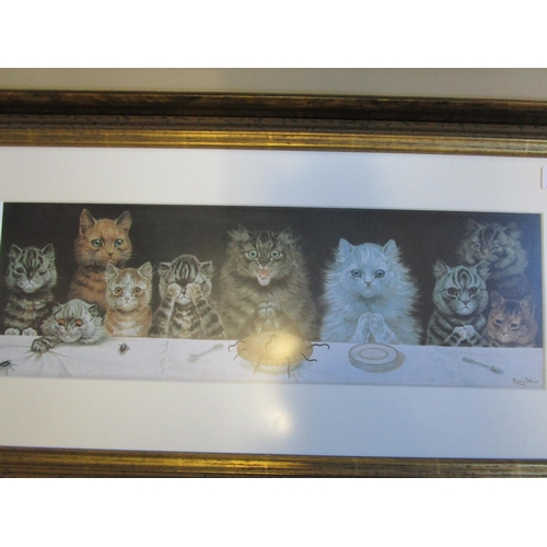 461 - A Louis Wain cat print and a an Andrew Hutchinson limited edition print of squirrels on a cartwheel,...