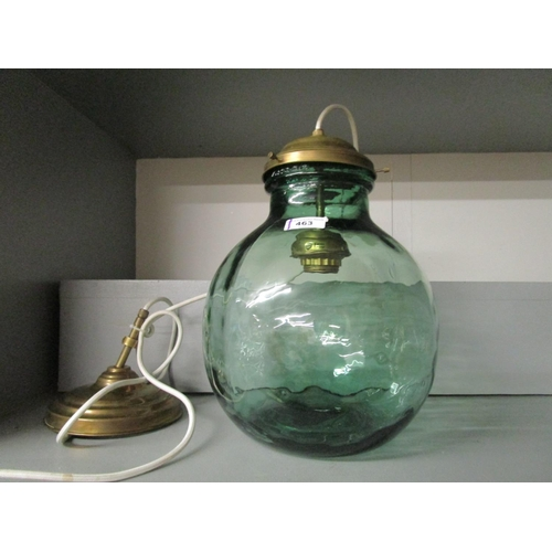 463 - A Versa green glass carboy converted to a pendant lamp Location G...