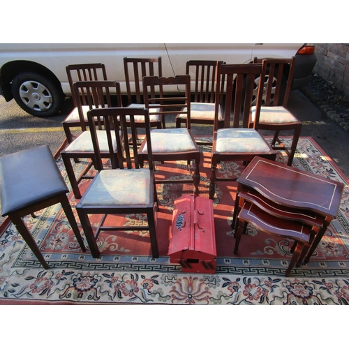 469 - Small furniture to include various occasional tables, a glass and brass coffee table a wine table an...