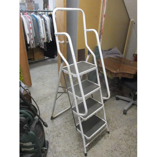 470 - A set of white painted tubular metal folding steps Location G...