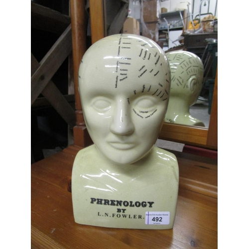 492 - Reproduction ceramic phrenology head after L N Fowler Location G...