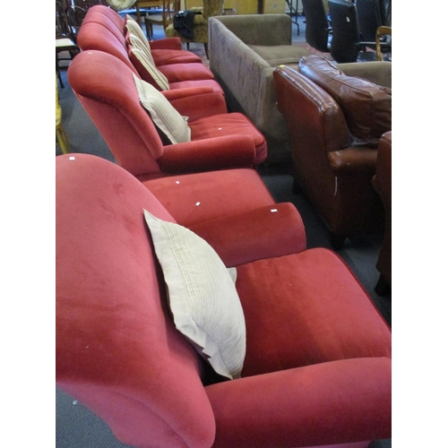 501 - A three seater sofa, two armchairs and a foot stool Location BR...