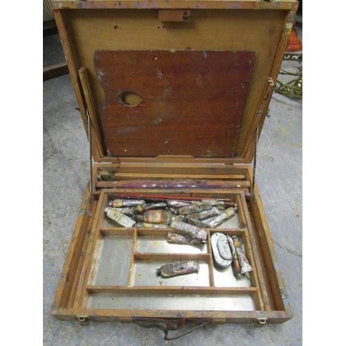 509 - Windsor and Newton wooden artist box containing used paints and palette Location LWB