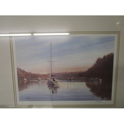 515 - James D Preston - Woodland scene, limited edition prints and another of a river scene with sailing b...