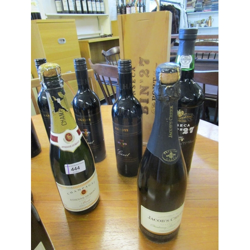444 - Mixed wines, Champagnes and port comprising a wooden cased bottle of Fonseca Bin no 27 Port fine res...