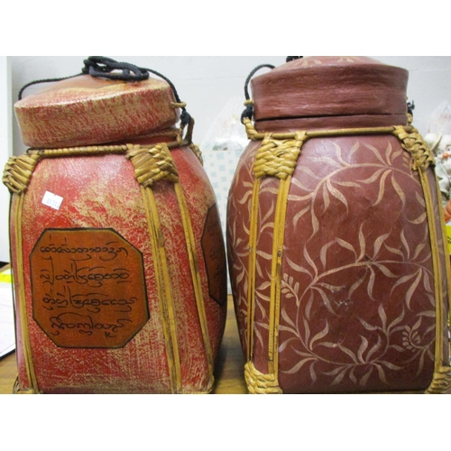 450 - Oriental export items to include two storage canisters, soap on ropes in the form of mangos, roses a...
