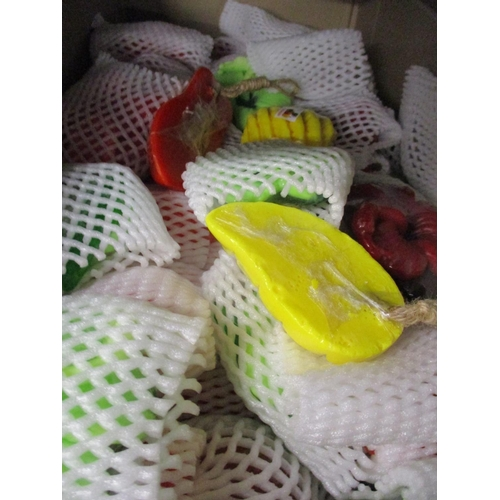 451 - A large quantity of brand new soaps on ropes in the form of fruit, veg and roses, together with 20th...