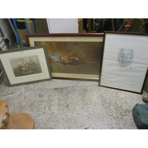 460 - Prints to include Barrie Clark - a view of a Spitfire, Alken - hunting scene, another and a tapestry...