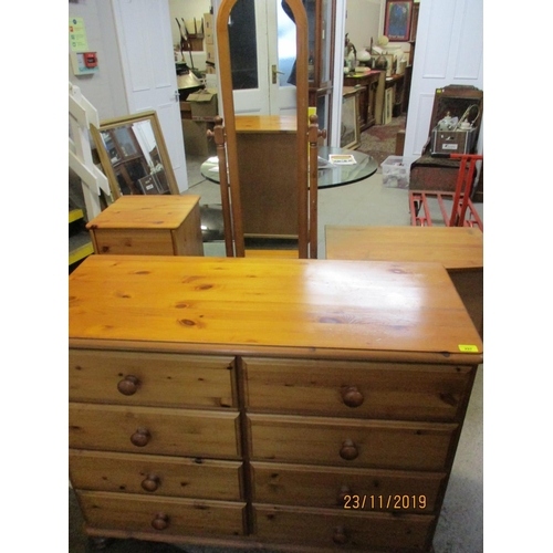 448 - Ducal Victoria range cheval mirror, matching eight drawer chest of drawers, together with a hardwood...