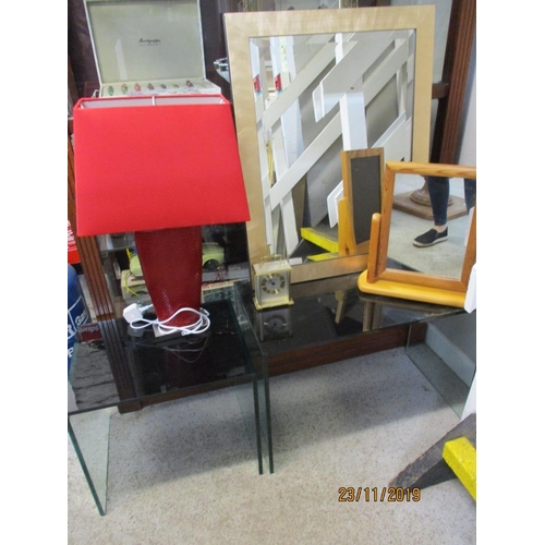 449 - Two contemporary glass occasional tables, a contemporary red table lamp and a carriage clock, togeth...