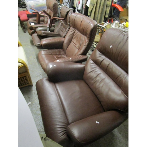 517 - A leather reclining armchair and three companions Location G...