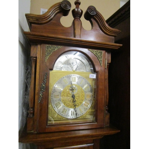 519 - A reproduction Emperor Clock Co long case clock with swan neck pediment, arched moon phase, three sl...