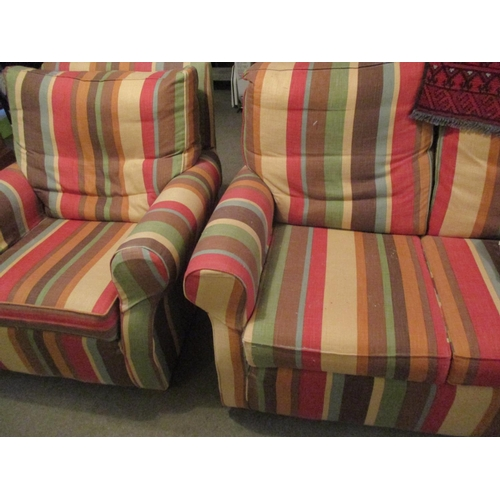 34 - A Multi York three-seater and a two-seater sofa and single armchair with multi striped cover Locatio...