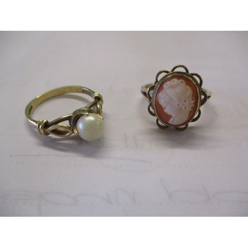 9 - Two 9ct gold rings comprising a cameo ring and a pearl ring, total weight 6.3g Location: CAB...