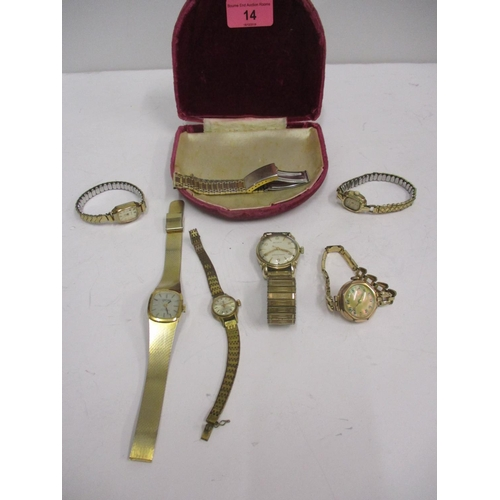 14 - Mixed watches to include two Bulova's, one having a gold case and a 1930s gold cased wrist watch Loc...