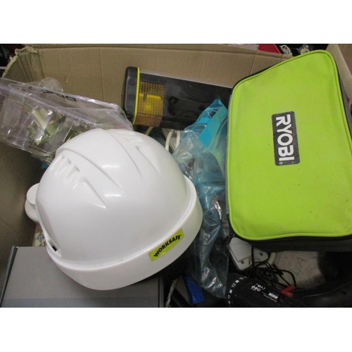 3 - DIY related items to include a Yale maximum security door lock, a Ryobi sander, tools, safety caps, ...