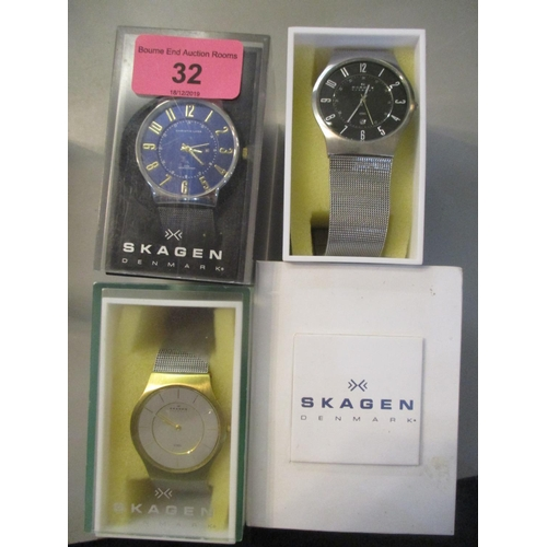 32 - Four boxed Skagen wristwatches Location: 9:4...