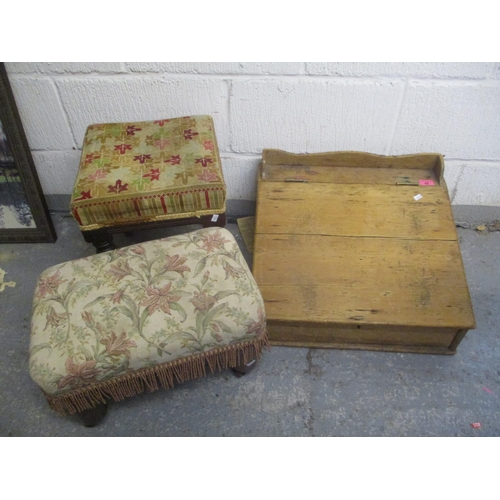 42 - Mixed furniture comprising a Victorian pine lectern and two footstools Location: G...