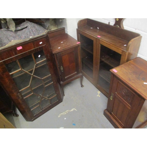 45 - Mixed furniture to include a two door wall hanging cabinet, Georgian mahogany corner cabinet and two...