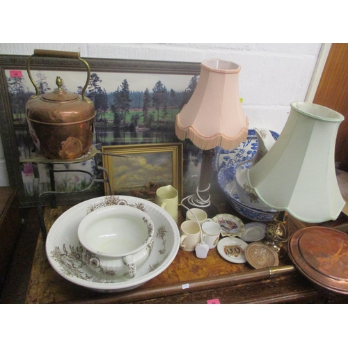 48 - A mixed lot to include a warming pan, table lamps, a C. Wright oil painting of a landscape and other...