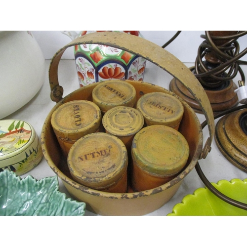8 - Vintage tin spice canisters, two reproduction lamps, early to late 20th century ceramics and a paper...