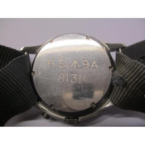 10 - Military Interest - Royal Naval issue Lemania, single button chronograph, circa 1960. The matt silve...