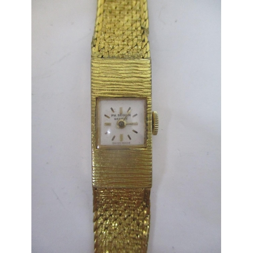 11 - An early 20th century Philippe Beguin, ladies manual wind, gold plated wristwatch with Rolex box.  T...