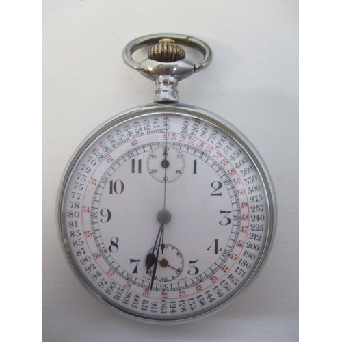 12 - An early 20th century, chrome plated, open faced, keyless wound stop watch. The white enamel dial ha...