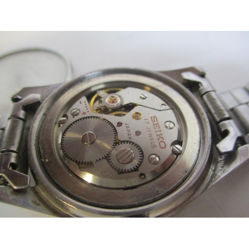 13 - A Seiko Sea Horse gents, stainless steel, manual wind wristwatch. The silvered dial having baton mar...