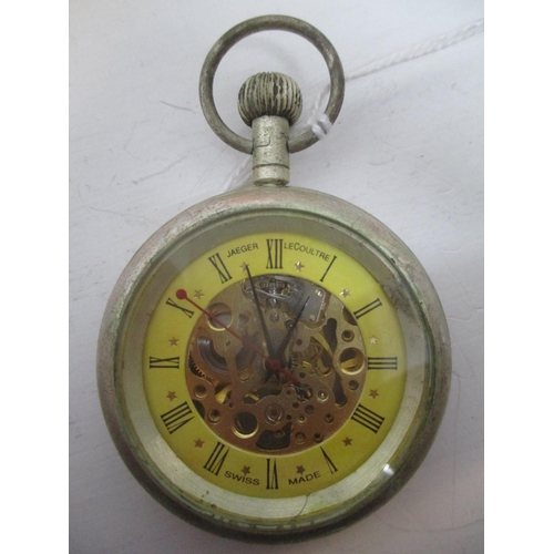 20 - An early 20th century Jaeger Le Coutre skeleton, chrome plated, keyless wound pocket watch.  The yel...