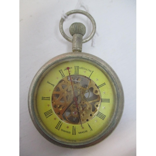 21 - An early 20th century Jaeger Le Coutre skeleton, chrome plated, keyless wound pocket watch.  The yel...