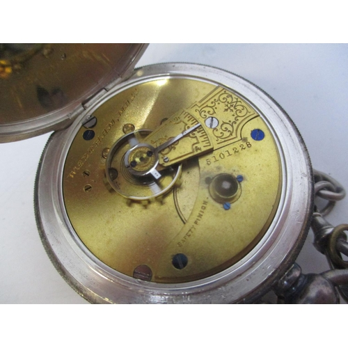 26 - A late 19th century Waltham silver cased pocket watch. The white enamel dial inscribed AWW Co Waltha...