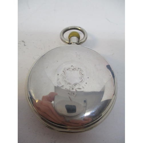 27 - An early 20th century silver, open face pocket watch having a white enamel dial with subsidiary seco...