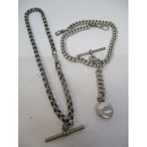 28 - Two T-bar silver pocket watch chains to include one having an attached compass, fob, total weight 98...