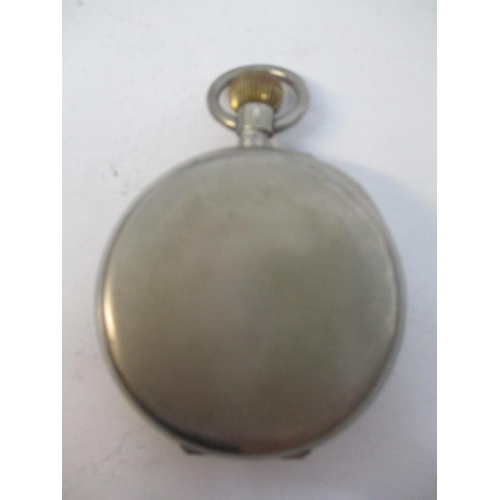 48 - An early 20th century nickel cased Goliath pocket watch having a white enamel dial with Roman numera...