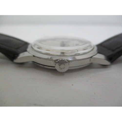 5 - An Omega gents stainless steel, manual wind wristwatch having Arabic numerals, silvered dial and on ...