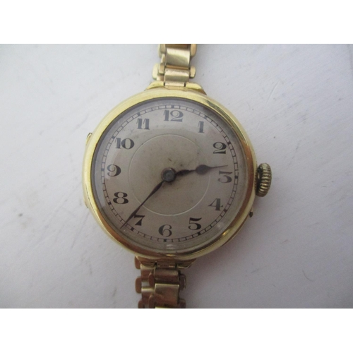 7 - An early 20th century ladies 18ct gold manual wind, wristwatch having Arabic numerals and blued hand...